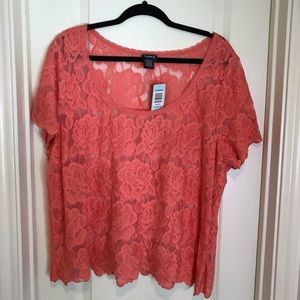 NWT Torrid Coral Lace Crop Top